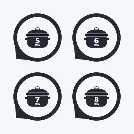 7 8: Cooking pan icons. Boil 5, 6, 7 and 8 minutes signs. Stew food symbol. Flat icon pointers.