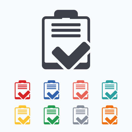poll: Checklist sign icon. Control list symbol. Survey poll or questionnaire feedback form. Colored flat icons on white background.