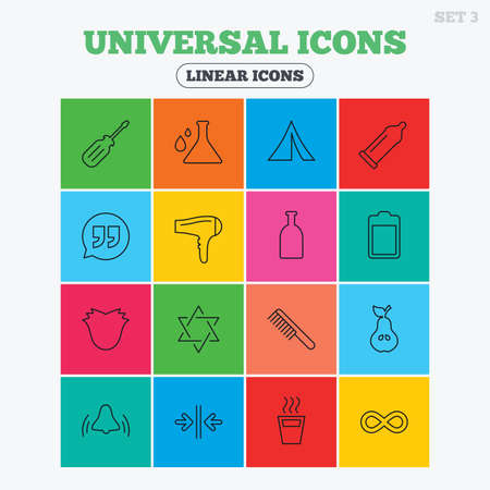 red condom: Universal icons. Camping tent, bottle and hot coffee drink. Hair dryer, battery and david star. Screwdriver tool, quotes and camping tent. Linear icons in colored squares. Illustration