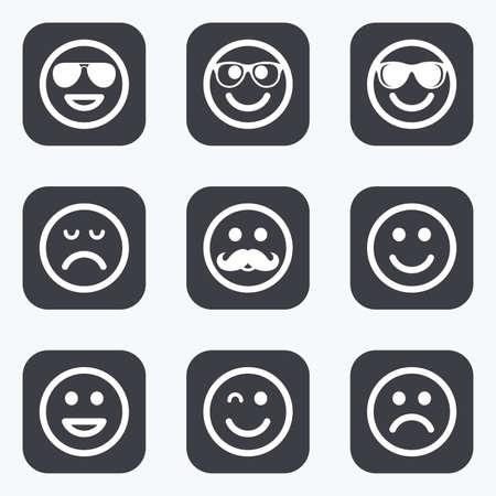 carita feliz caricatura: iconos sonrisa. Feliz, triste y guiño enfrenta signos. Gafas de sol, bigote y la risa lol símbolos de Smiley. botones planas y cuadradas con esquinas redondeadas.
