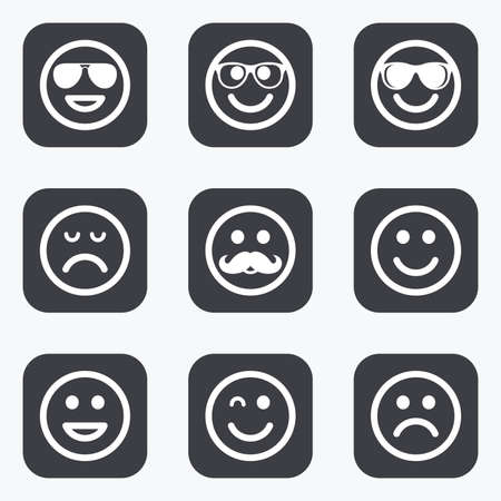 smiley icon: Smile icons. Happy, sad and wink faces signs. Sunglasses, mustache and laughing lol smiley symbols. Flat square buttons with rounded corners.