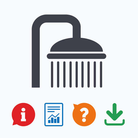 douche: Shower sign icon. Douche with water drops symbol. Information think bubble, question mark, download and report.