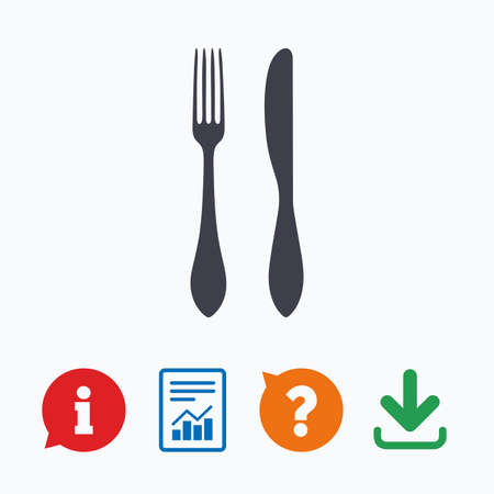 eating questions: Eat sign icon. Cutlery symbol. Knife and fork. Information think bubble, question mark, download and report.