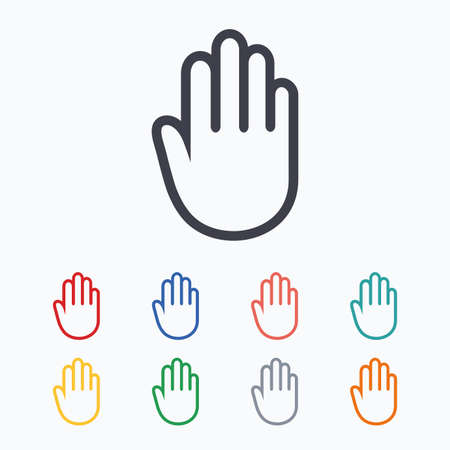 give me five: Hand sign icon. No Entry or stop symbol. Give me five. Colored flat icons on white background. Illustration
