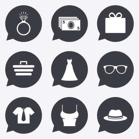 t shirts: Accessories, clothes icons. Shirt with tie, glasses signs. Dress and engagement ring symbols. Flat icons in speech bubble pointers.