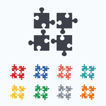 ingenuity: Puzzles pieces sign icon. Strategy symbol. Ingenuity test game. Colored flat icons on white background.