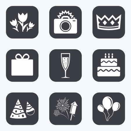 champagne celebration: Party celebration, birthday icons. Fireworks, air balloon and champagne glass signs. Gift box, flowers and photo camera symbols. Flat square buttons with rounded corners.