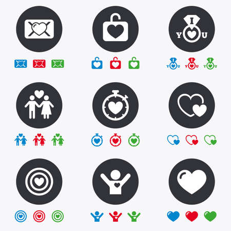oath: Love, valentine day icons. Target with heart, oath letter and locker symbols. Couple lovers, boyfriend signs. Flat circle buttons with icons.