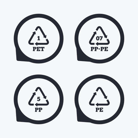 pp: PET 1, PP-pe 07, PP 5 and PE icons. High-density Polyethylene terephthalate sign. Recycling symbol. Flat icon pointers.