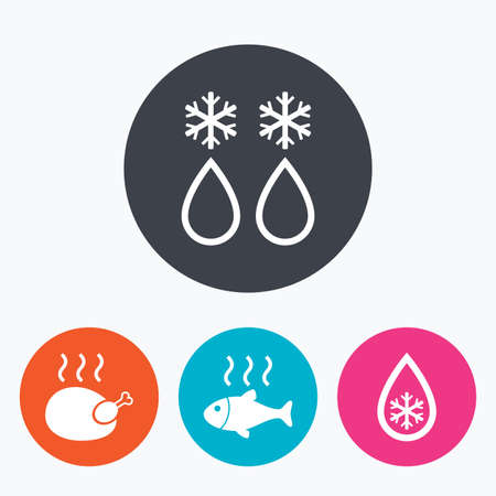 warm water fish: Defrosting drop and snowflake icons. Hot fish and chicken signs. From ice to water symbol. Circle flat buttons with icon.