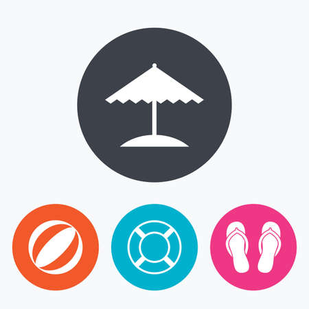 flipflops: Beach holidays icons. Ball, umbrella and flip-flops sandals signs. Lifebuoy symbol. Circle flat buttons with icon.