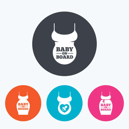big belly: Baby on board icons. Infant caution signs. Child pacifier nipple. Pregnant woman dress with big belly. Circle flat buttons with icon.