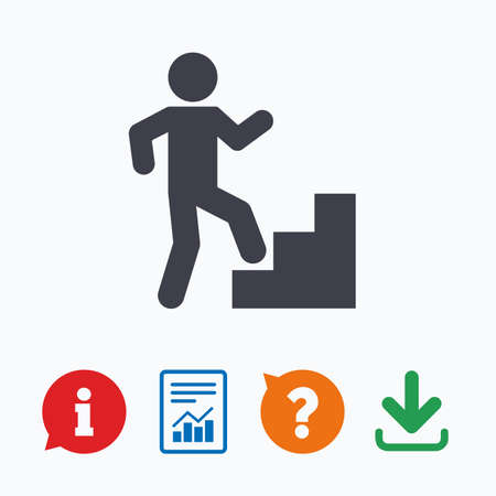 upstairs: Upstairs icon. Human walking on ladder sign. Information think bubble, question mark, download and report.