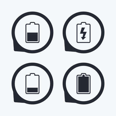 half full: Battery charging icons. Electricity signs symbols. Charge levels: full, half and low. Flat icon pointers. Illustration
