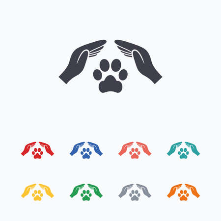 Protection of animals sign icon. Hands protect paw symbol. Shelter for dogs. Animals insurance. Colored flat icons on white background.