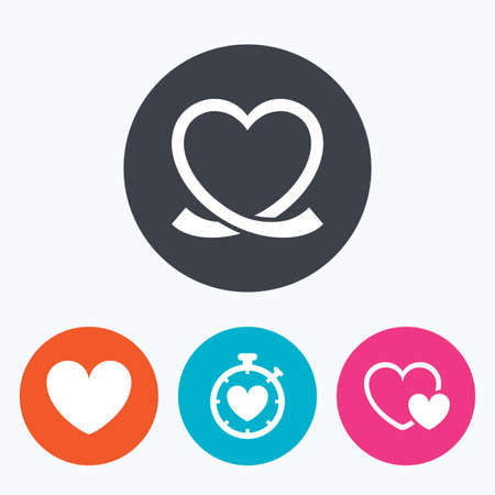 palpitation: Heart ribbon icon. Timer stopwatch symbol. Love and Heartbeat palpitation signs. Circle flat buttons with icon.