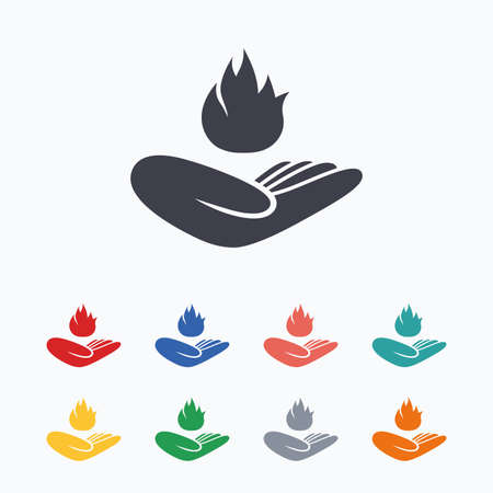 hand colored: Insurance against fire sign icon. Hand holds fire flame symbol. Colored flat icons on white background. Illustration