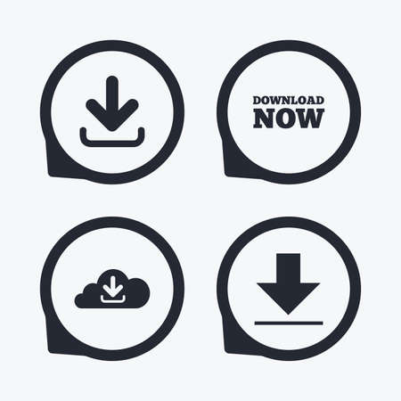 ftp servers: Download now icon. Upload from cloud symbols. Receive data from a remote storage signs. Flat icon pointers.