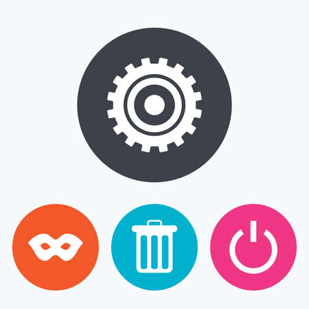 anonymous: Anonymous mask and cogwheel gear icons. Recycle bin delete and power sign symbols. Circle flat buttons with icon.