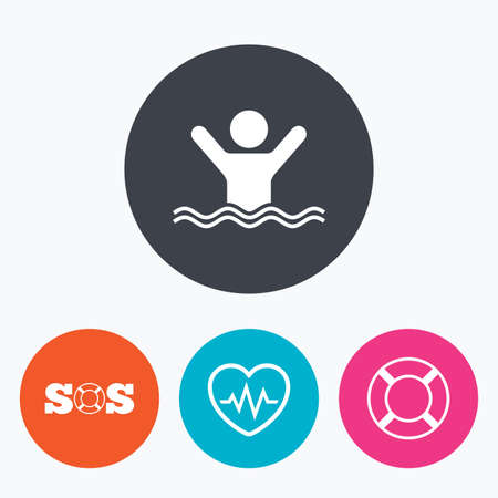 drowns: SOS lifebuoy icon. Heartbeat cardiogram symbol. Swimming sign. Man drowns. Circle flat buttons with icon.