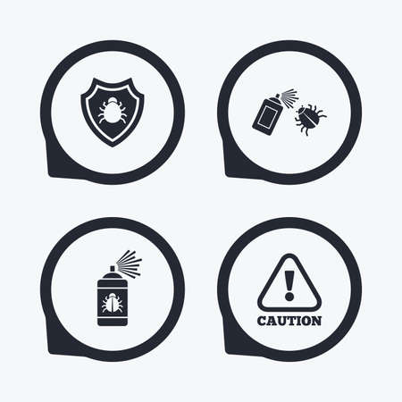Bug disinfection icons. Caution attention and shield symbols. Insect fumigation spray sign. Flat icon pointers.