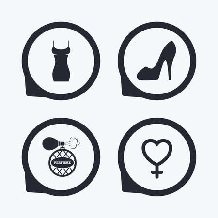 sex positions: Women dress icon. Sexy shoe sign. Perfume glamour fragrance symbol. Flat icon pointers.