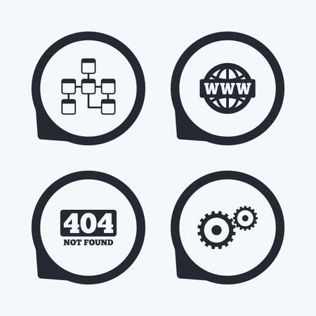 mysql: Website database icon. Internet globe and gear signs. 404 page not found symbol. Under construction. Flat icon pointers.