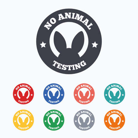No animals testing sign icon. Not tested symbol. Colored flat icons on white background. Stock Vector - 50983513