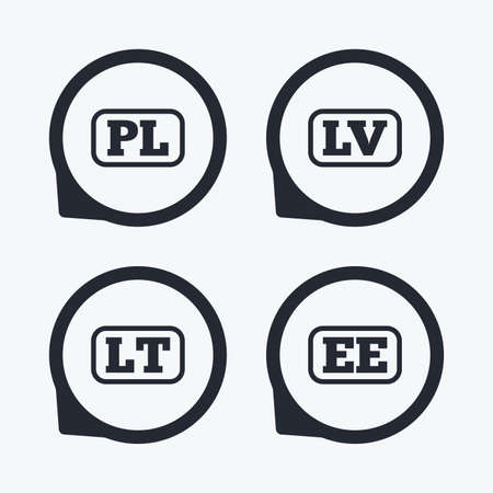 ee: Language icons. PL, LV, LT and EE translation symbols. Poland, Latvia, Lithuania and Estonia languages. Flat icon pointers.