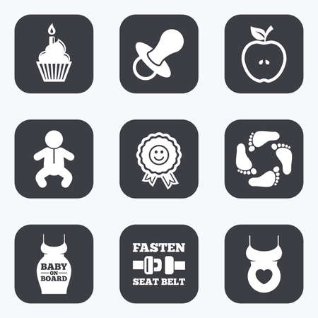 newborn footprint: Pregnancy, maternity and baby care icons. Apple, award and pacifier signs. Footprint, birthday cake and newborn symbols. Flat square buttons with rounded corners.