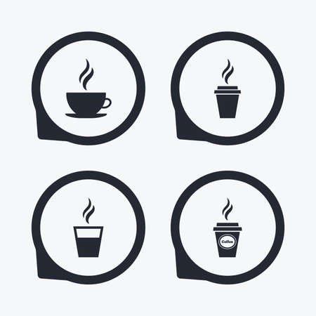 takeout: Coffee cup icon. Hot drinks glasses symbols. Take away or take-out tea beverage signs. Flat icon pointers. Illustration