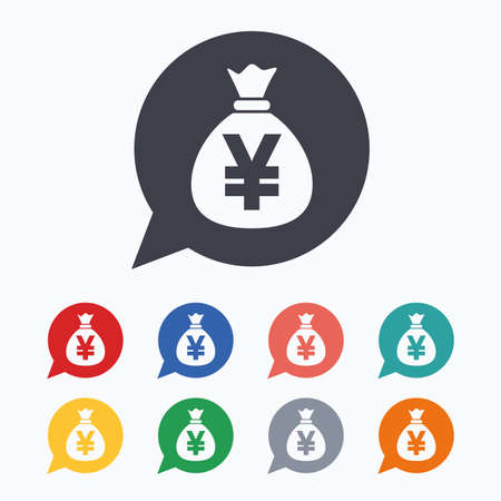 jpy: Money bag sign icon. Yen JPY currency speech bubble symbol. Colored flat icons on white background.