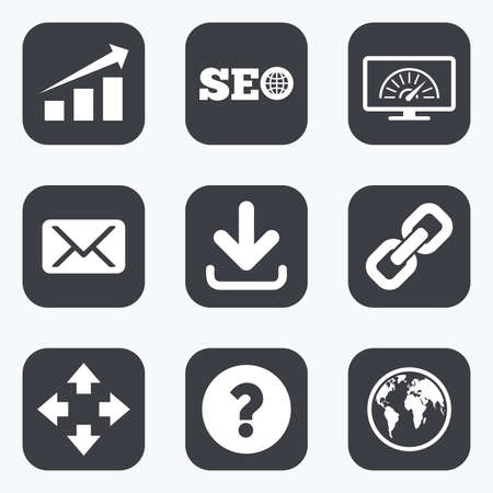 bandwidth: Internet, seo icons. Bandwidth speed, download arrow and mail signs. Hyperlink, monitoring symbols. Flat square buttons with rounded corners.