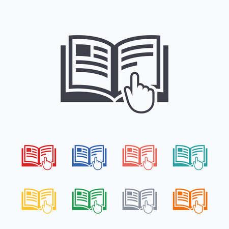 Icono de signo de instrucciones. Símbolo libro Manual. Leer antes de usar. Iconos planos de colores sobre fondo blanco.
