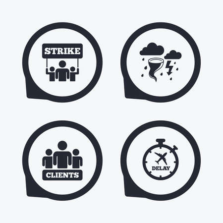 bad weather: Strike icon. Storm bad weather and group of people signs. Delayed flight symbol. Flat icon pointers. Illustration