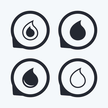 tear: Water drop icons. Tear or Oil drop symbols. Flat icon pointers.