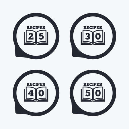 25 30: Cookbook icons. 25, 30, 40 and 50 recipes book sign symbols. Flat icon pointers.