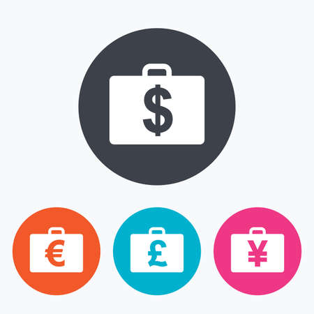 diplomat: Businessman case icons. Cash money diplomat signs. Dollar, euro and pound symbols. Circle flat buttons with icon.