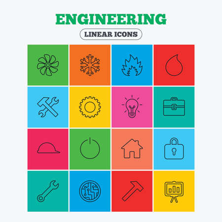lamp outline: Engineering icons. Ventilation, heat and air conditioning symbols. Water supply, repair service and circuit board thin outline signs. Lamp, house and locker. Linear icons in colored squares.