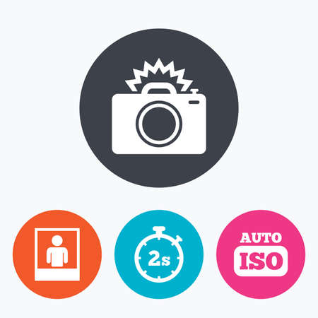 seconds: Photo camera icon. Flash light and Auto ISO symbols. Stopwatch timer 2 seconds sign. Human portrait photo frame. Circle flat buttons with icon.