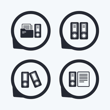 financial position: Accounting icons. Document storage in folders sign symbols. Flat icon pointers. Illustration