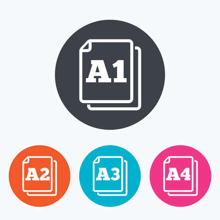 a1: Paper size standard icons. Document symbols. A1, A2, A3 and A4 page signs. Circle flat buttons with icon.