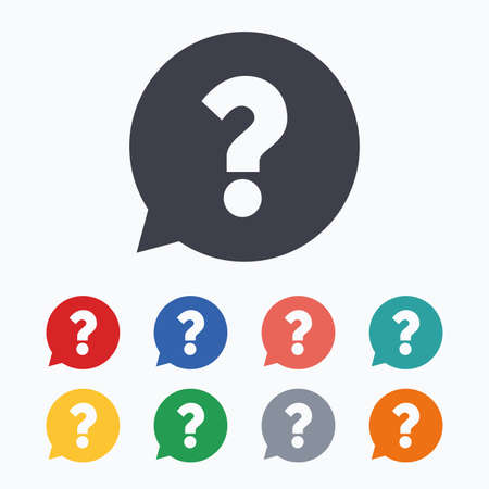 help symbol: Question mark sign icon. Help speech bubble symbol. FAQ sign. Colored flat icons on white background.
