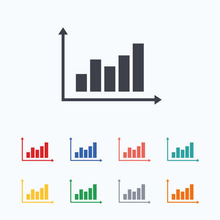 statistics icon: Graph chart sign icon. Diagram symbol. Statistics. Colored flat icons on white background.