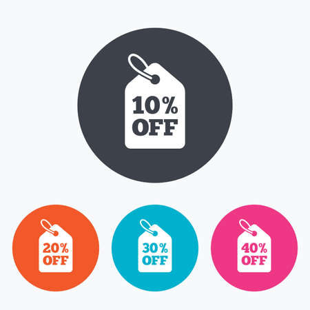 ten best: Sale price tag icons. Discount special offer symbols. 10%, 20%, 30% and 40% percent off signs. Circle flat buttons with icon.
