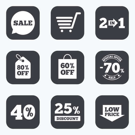 low price: Sale discounts icon. Shopping cart, coupon and low price signs. 25, 40 and 60 percent off. Special offer symbols. Flat square buttons with rounded corners.