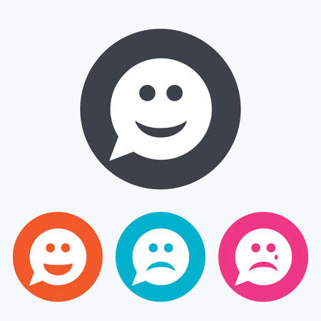crying eyes: Speech bubble smile face icons. Happy, sad, cry signs. Happy smiley chat symbol. Sadness depression and crying signs. Circle flat buttons with icon.