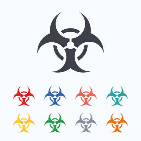 biology backgrounds: Biohazard sign icon. Danger symbol. Colored flat icons on white background. Illustration