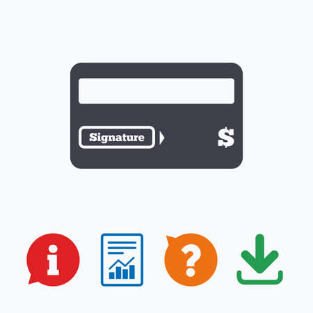 credit report: Credit card sign icon. Debit card symbol. Virtual money. Information think bubble, question mark, download and report.
