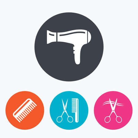 comb hair: Hairdresser icons. Scissors cut hair symbol. Comb hair with hairdryer sign. Circle flat buttons with icon.